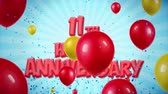bênção : 11th Happy Anniversary Red Text Appears on Confetti Popper Explosions Falling and Glitter Particles, Colorful Flying Balloons Seamless Loop Animation for Wishes Greeting, Party, Invitation, card.