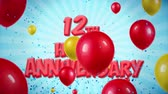 bênção : 12th Happy Anniversary Red Text Appears on Confetti Popper Explosions Falling and Glitter Particles, Colorful Flying Balloons Seamless Loop Animation for Wishes Greeting, Party, Invitation, card.