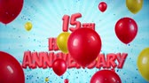 congratulations : 15th Happy Anniversary Red Text Appears on Confetti Popper Explosions Falling and Glitter Particles, Colorful Flying Balloons Seamless Loop Animation for Wishes Greeting, Party, Invitation, card.