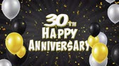 bênção : 30th Happy Anniversary Black Text Appears on Confetti Popper Explosions Falling and Glitter Particles, Flying Balloons Seamless Loop Animation for Wishes Greeting, Party, Invitation, card. Vídeos