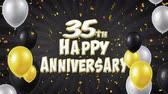 požehnání : 35th Happy Anniversary Black Text Appears on Confetti Popper Explosions Falling and Glitter Particles, Flying Balloons Seamless Loop Animation for Wishes Greeting, Party, Invitation, card.