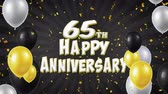 congratulations : 65th Happy Anniversary Black Text Appears on Confetti Popper Explosions Falling and Glitter Particles, Flying Balloons Seamless Loop Animation for Wishes Greeting, Party, Invitation, card.