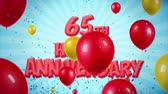 požehnání : 65th Happy Anniversary Red Text Appears on Confetti Popper Explosions Falling and Glitter Particles, Colorful Flying Balloons Seamless Loop Animation for Wishes Greeting, Party, Invitation, card.