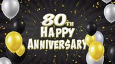 balon : 80th Happy Anniversary Black Text Appears on Confetti Popper Explosions Falling and Glitter Particles, Flying Balloons Seamless Loop Animation for Wishes Greeting, Party, Invitation, card. Wideo