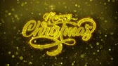 bombki : Sparkling Lights xmas Merry Christmas and Happy New Year greeting message text particles Blinking Golden Looped Background. Gift, card, Invitation, Celebration, Events, Message, Holiday, Festival.