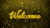 초대 : Welcome Greetings card Abstract Blinking Golden Sparkles Glitter Firework Particle Looped Background. Gift, card, Invitation, Celebration, Events, Message, Holiday, Festival 1 무비클립