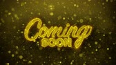 motto : Coming Soon Greetings card Abstract Blinking Golden Sparkles Glitter Firework Particle Looped Background. Gift, card, Invitation, Celebration, Events, Message, Holiday, Festival.
