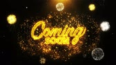 notificação : Coming Soon Text Sparks Particles Reveal from Golden Firework Display explosion 4K. Greeting card, Celebration, Party Invitation, calendar, Gift, Events, Message, Holiday, Wishes Festival . Vídeos