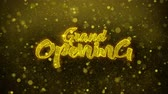 duyurmak : Grand Opening Greetings card Abstract Blinking Golden Sparkles Glitter Firework Particle Looped Background. Gift, card, Invitation, Celebration, Events, Message, Holiday, Festival. Stok Video