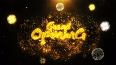 duyurmak : Grand Opening Text Sparks Particles Reveal from Golden Firework Display explosion 4K. Greeting card, Celebration, Party Invitation, calendar, Gift, Events, Message, Holiday, Wishes Festival .