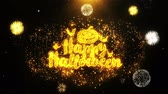 morcego : Happy Halloween Text Sparks Particles Reveal from Golden Firework Display explosion 4K. Greeting card, Celebration, Party Invitation, calendar, Gift, Events, Message, Holiday, Wishes Festival . 1