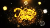 hálaadás : Thanksgiving Text Sparks Particles Reveal from Golden Firework Display explosion 4K. Greeting card, Celebration, Party Invitation, calendar, Gift, Events, Message, Holiday, Wishes Festival .