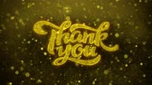 gratitude : Thank You Greetings card Abstract Blinking Golden Sparkles Glitter Firework Particle Looped Background. Gift, card, Invitation, Celebration, Events, Message, Holiday, Festival.