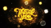 agradecimento : Thank You Text Sparks Particles Reveal from Golden Firework Display explosion 4K. Greeting card, Celebration, Party Invitation, calendar, Gift, Events, Message, Holiday, Wishes Festival . Vídeos