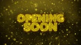 レタリング : Opening Soon Greetings card Abstract Blinking Golden Sparkles Glitter Firework Particle Looped Background. Gift, card, Invitation, Celebration, Events, Message, Holiday, Festival.