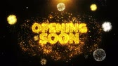notificação : Opening Soon Text Sparks Particles Reveal from Golden Firework Display explosion 4K. Greeting card, Celebration, Party Invitation, calendar, Gift, Events, Message, Holiday, Wishes Festival .