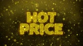 çıkartmalar : Hot Price Greetings card Abstract Blinking Golden Sparkles Glitter Firework Particle Looped Background. Gift, card, Invitation, Celebration, Events, Message, Holiday, Festival.