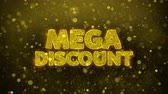 snížení : Mega Discount Greetings card Abstract Blinking Golden Sparkles Glitter Firework Particle Looped Background. Gift, card, Invitation, Celebration, Events, Message, Holiday, Festival.