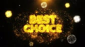 스티커 : Best Choice Text Sparks Particles Reveal from Golden Firework Display explosion 4K. Greeting card, Celebration, Party Invitation, calendar, Gift, Events, Message, Holiday, Wishes Festival .