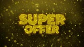 rebate : Super Offer Greetings card Abstract Blinking Golden Sparkles Glitter Firework Particle Looped Background. Gift, card, Invitation, Celebration, Events, Message, Holiday, Festival.