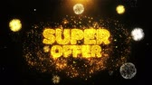cupom : Super Offer Text Sparks Particles Reveal from Golden Firework Display explosion 4K. Greeting card, Celebration, Party Invitation, calendar, Gift, Events, Message, Holiday, Wishes Festival .