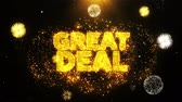 rebate : Great Deal Text Sparks Particles Reveal from Golden Firework Display explosion 4K. Greeting card, Celebration, Party Invitation, calendar, Gift, Events, Message, Holiday, Wishes Festival .