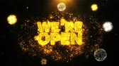 çekmek : We Are Open Text Sparks Particles Reveal from Golden Firework Display explosion 4K. Greeting card, Celebration, Party Invitation, calendar, Gift, Events, Message, Holiday, Wishes Festival .