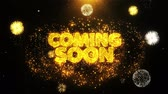 teatral : Coming Soon Text Sparks Particles Reveal from Golden Firework Display explosion 4K. Greeting card, Celebration, Party Invitation, calendar, Gift, Events, Message, Holiday, Wishes Festival . Vídeos