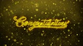 caligrafia : Congratulations Greetings card Abstract Blinking Golden Sparkles Glitter Firework Particle Looped Background. Gift, card, Invitation, Celebration, Events, Message, Holiday, Festival