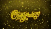 chvála : Congrats Greetings card Abstract Blinking Golden Sparkles Glitter Firework Particle Looped Background. Gift, card, Invitation, Celebration, Events, Message, Holiday, Festival 1 Dostupné videozáznamy