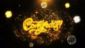 аплодисменты : Congrats Text Sparks Particles Reveal from Golden Firework Display explosion 4K. Greeting card, Celebration, Party Invitation, calendar, Gift, Events, Message, Holiday, Wishes Festival . Стоковые видеозаписи