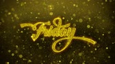 terça feira : Friday Greetings card Abstract Blinking Golden Sparkles Glitter Firework Particle Looped Background. Gift, card, Invitation, Celebration, Events, Message, Holiday, Festival Vídeos
