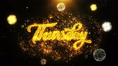 jeudi : Thursday Text Sparks Particles Reveal from Golden Firework Display explosion 4K. Greeting card, Celebration, Party Invitation, calendar, Gift, Events, Message, Holiday, Wishes Festival . Vidéos Libres De Droits