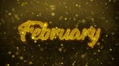 ежемесячно : February Greetings card Abstract Blinking Golden Sparkles Glitter Firework Particle Looped Background. Gift, card, Invitation, Celebration, Events, Message, Holiday, Festival Стоковые видеозаписи