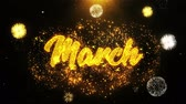ежемесячно : March Text Sparks Particles Reveal from Golden Firework Display explosion 4K. Greeting card, Celebration, Party Invitation, calendar, Gift, Events, Message, Holiday, Wishes Festival .