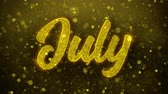 calandra : July Greetings card Abstract Blinking Golden Sparkles Glitter Firework Particle Looped Background. Gift, card, Invitation, Celebration, Events, Message, Holiday, Festival Vídeos