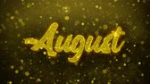 calandra : August Greetings card Abstract Blinking Golden Sparkles Glitter Firework Particle Looped Background. Gift, card, Invitation, Celebration, Events, Message, Holiday, Festival