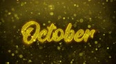 calandra : October Greetings card Abstract Blinking Golden Sparkles Glitter Firework Particle Looped Background. Gift, card, Invitation, Celebration, Events, Message, Holiday, Festival