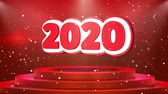 calandra : 2020 Text Animation on 3d Stage Podium Carpet. Reval Red Curtain With Abstract Foil Confetti Blast, Spotlight, Glitter Sparkles, Loop 4k Animation.