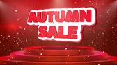 promocional : Autumn Sale Text Animation on 3d Stage Podium Carpet. Reval Red Curtain With Abstract Foil Confetti Blast, Spotlight, Glitter Sparkles, Loop 4k Animation.