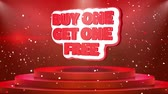 diminuzione : Buy One Get One Free Text Animation on 3d Stage Podium Carpet. Reval Red Curtain With Abstract Foil Confetti Blast, Spotlight, Glitter Sparkles, Loop 4k Animation. Filmati Stock