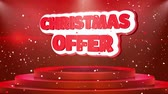 brochura : Christmas Offer Text Animation on 3d Stage Podium Carpet. Reval Red Curtain With Abstract Foil Confetti Blast, Spotlight, Glitter Sparkles, Loop 4k Animation.