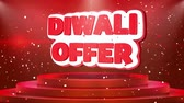auspicioso : Diwali Offer Text Animation on 3d Stage Podium Carpet. Reval Red Curtain With Abstract Foil Confetti Blast, Spotlight, Glitter Sparkles, Loop 4k Animation. Stock Footage