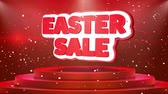 królik : Easter Sale Text Animation on 3d Stage Podium Carpet. Reval Red Curtain With Abstract Foil Confetti Blast, Spotlight, Glitter Sparkles, Loop 4k Animation. Wideo