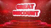 понедельник : Great Discount Text Animation on 3d Stage Podium Carpet. Reval Red Curtain With Abstract Foil Confetti Blast, Spotlight, Glitter Sparkles, Loop 4k Animation.