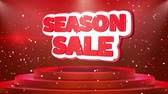 понедельник : Season Sale Text Animation on 3d Stage Podium Carpet. Reval Red Curtain With Abstract Foil Confetti Blast, Spotlight, Glitter Sparkles, Loop 4k Animation.
