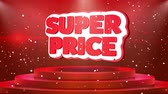 스티커 : Super Price Text Animation on 3d Stage Podium Carpet. Reval Red Curtain With Abstract Foil Confetti Blast, Spotlight, Glitter Sparkles, Loop 4k Animation. 무비클립