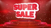 çıkartmalar : Super Sale Text Animation on 3d Stage Podium Carpet. Reval Red Curtain With Abstract Foil Confetti Blast, Spotlight, Glitter Sparkles, Loop 4k Animation.