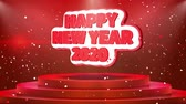 ano : Happy New year 2020 Text Animation on 3d Stage Podium Carpet. Reval Red Curtain With Abstract Foil Confetti Blast, Spotlight, Glitter Sparkles, Loop 4k Animation. Vídeos