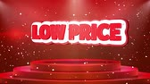 неделя : Low Price Text Animation on 3d Stage Podium Carpet. Reval Red Curtain With Abstract Foil Confetti Blast, Spotlight, Glitter Sparkles, Loop 4k Animation.